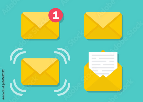 Set of email message envelope icons in a flat design Canvas Print