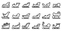 Sleigh Icons Set. Outline Set Of Sleigh Vector Icons For Web Design Isolated On White Background