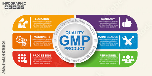 GMP-Good Manufacturing Practice, 6 heading of infographic template with sample text Canvas Print