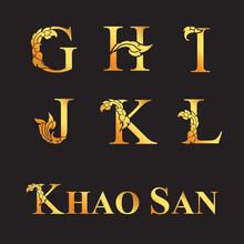 Golden Elegant Letter G, H, I, J, K, L With Thai Art Elements. Vector