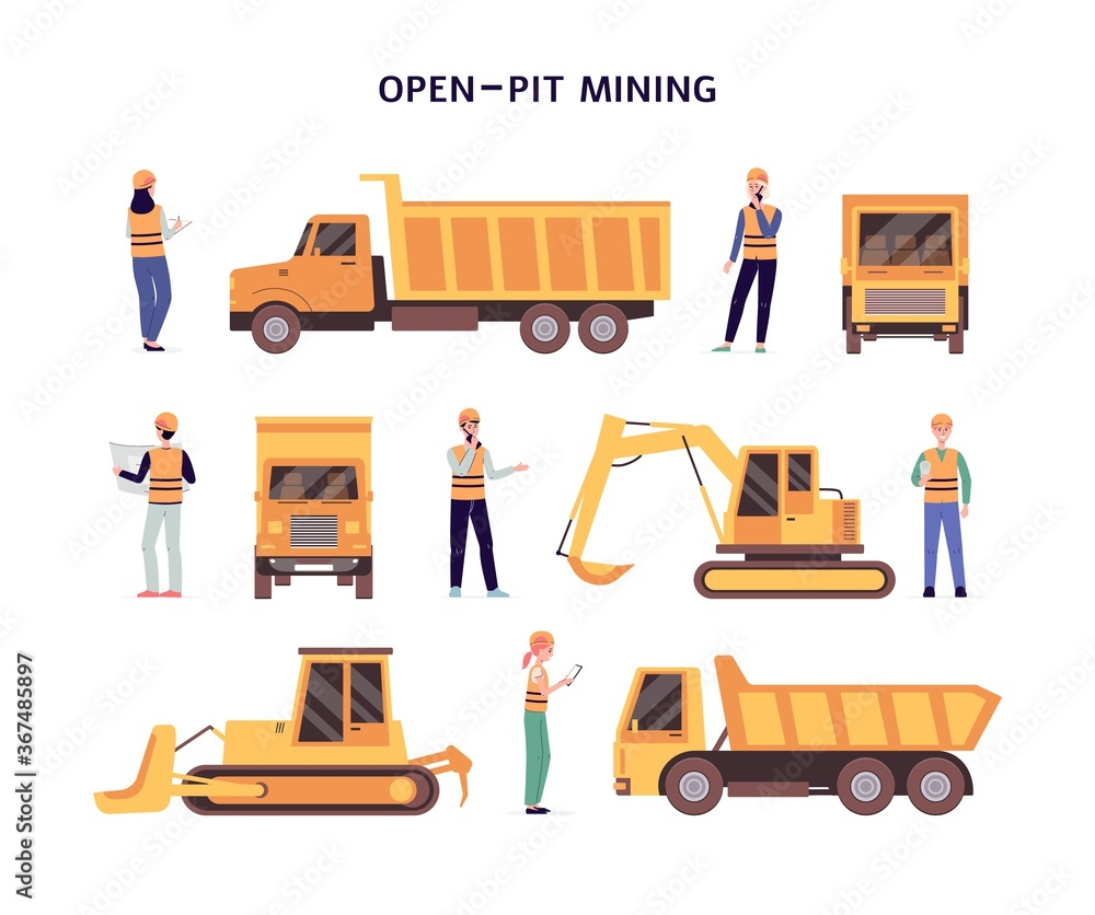 Fototapeta Open pit mining set of construction equipment flat vector illustration isolated.