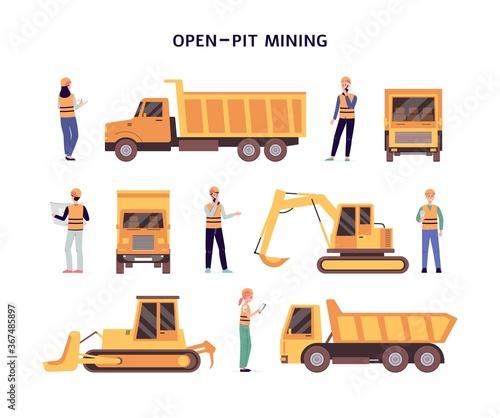Obraz Open pit mining set of construction equipment flat vector illustration isolated. - fototapety do salonu