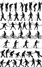 Vector Silhouette Collection Of Active Senior  People Women And Men Playing Different Sports