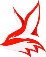 Fennec Fox Head With Flying Phoenix Negative Space Vector Design