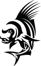 Simple Vector Of Rooster Fish