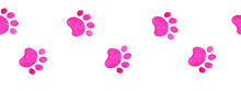Seamless Pattern With Pink Animals Cartoon Footsteps , Watercolor Illustration