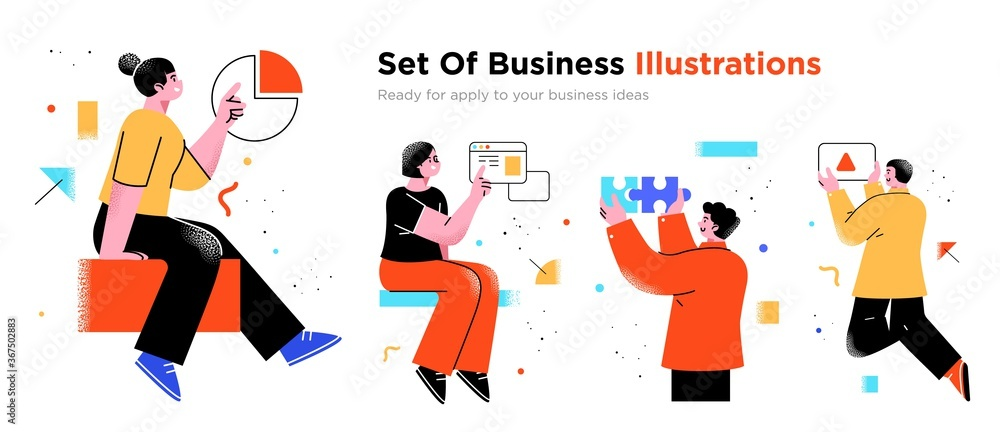 Fototapeta Business Concept illustrations. Collection of scenes with men and women taking part in business activities. Trendy vector style.