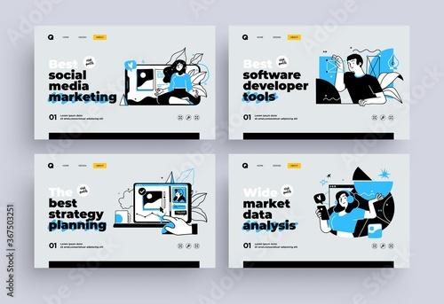 Photo Set of Presentation slide templates or landing page websites design