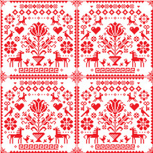 Traditional Cross-stitch Vector Seamless Red And White Pattern - Repetitive Background Inspired By German Old Style Embroidery With Flowers And Animals