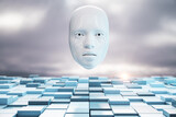 Fototapeta Kawa jest smaczna - Cyborg digital white head.