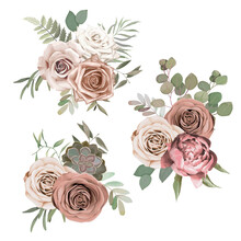 Vintage Floral Set For Wedding Card. Greeting Composition With Rose, Peony,  Eucalyptus Branch, Leaves And Cactus On White Background. Vector Illustration. Blossom Bouquets