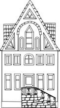 Vector Illustration Of A Little Black White House