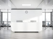 Blank White Reception Desk In ...