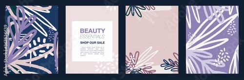 Botanical abstract flyer or banner template for beauty, woman products shop Canvas Print