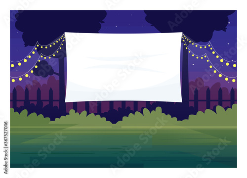 Obraz Festive outdoor cinema screen semi flat vector illustration. Open air decorated place with lanterns. Film premiere outside. Public park. Outdoors movie night 2D cartoon scene for commercial use - fototapety do salonu