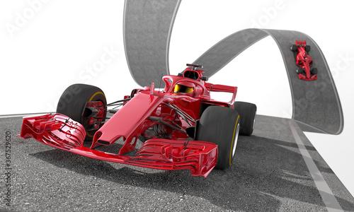 Obraz red f1 racecar on a wired track 2 - fototapety do salonu