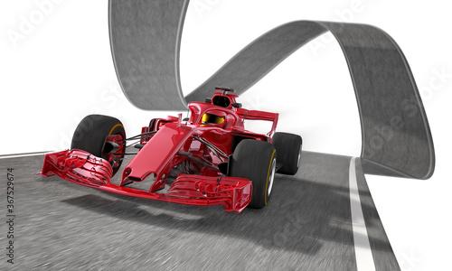 Obraz red f1 racecar on a wired track 1 - fototapety do salonu