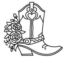 Cowboy Boot And Roses Decoration. Outline Vector Illustration Isolated On White For Cards Or Print