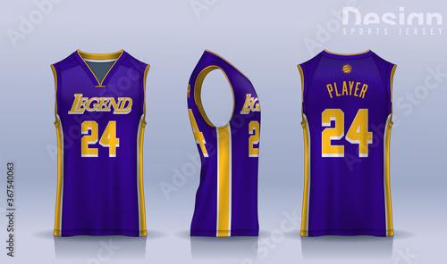 Obraz Basketball tank top design template, Sport jersey mockup. uniform front , side and back view. - fototapety do salonu