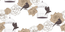 Vintage Floral Seamless Pattern With Cage Of Birds And Roses On White Background. Brown Colors. Retro Endless Texture For Your Design Wallpaper, Wrapper, Fabrics.