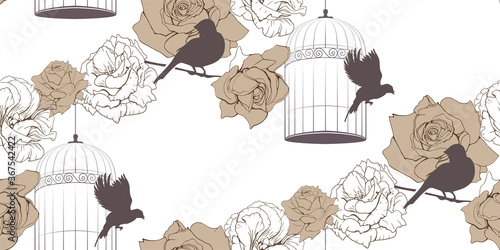 Obraz na plátne Vintage floral seamless pattern with cage of birds and roses on white background