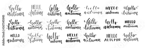 Vector set of isolated handwritten calligraphy of Hello Autumn logo for decoration and covering on the white background Wallpaper Mural