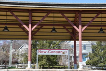 The New Canaan Metro-North Railroad Station In Connecticut