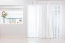 Background Front Room In Home Atmosphere Light Shining Through The Curtain