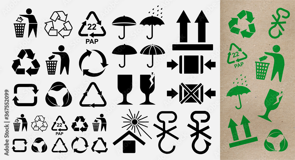 Fototapeta Set of pictograms for the recycling symbols for plastic products and other products. Recycle and some packaging sign. Vector illustration. Isolated on white background.