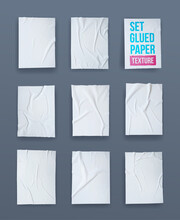 Set Of White Glued Paper Wrink...