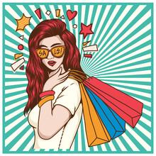 Summer Shopping Sale Pop Art I...