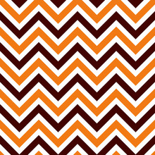 Halloween Seamless Zigzag Pattern, Vector Illustration. Chevron Zigzag Pattern With Colorful Lines On White Background. Retro Black And Orange Chevron Background
