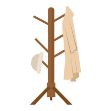 Clothes Rack Icon With Coat And Hat - Vector