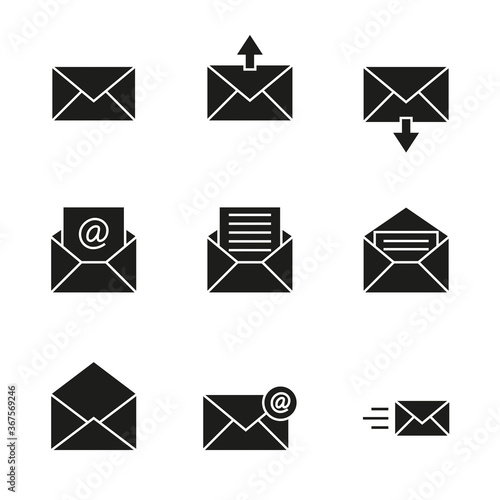 Vector icon set of envelopes, incoming and outgoing letters, mail, email Tapéta, Fotótapéta