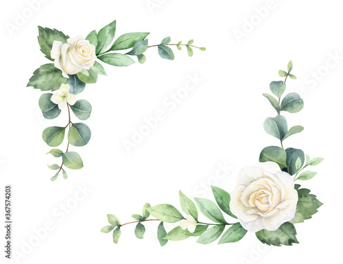 Watercolor vector hand painted wreath with green eucalyptus leaves and white roses Fototapeta