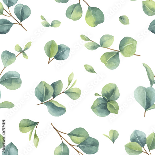 Fotomural Watercolor vector hand painted seamless pattern with green eucalyptus leaves