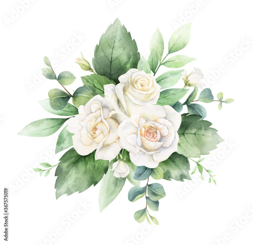 Foto Watercolor vector hand painted bouquet with green eucalyptus leaves and white roses