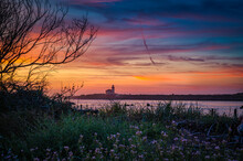 The Coquille River Lighthouse In Bandon During Colorful Sunset.