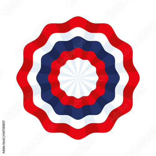 Photo tricolor rosette with blue, white and red ribbon vector illustration design