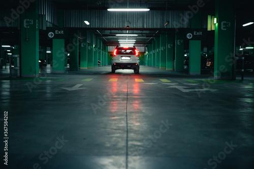 white suv car at underground parking Canvas