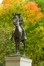 Portland, Oregon;  A Statue Of Teddy Roosevelt On His Horse In The Autumn Season, In The Park Block Of Portland, .