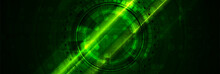 Bright Green Glowing Technology Banner With HUD Gear