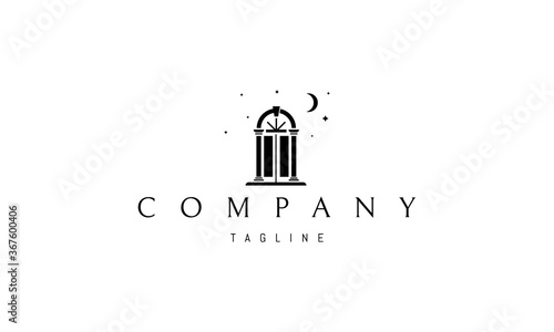 Vector logo on which an abstract image of a magic door on the background of the moon and stars Canvas Print