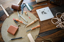 Leather Crafting Tools On Table