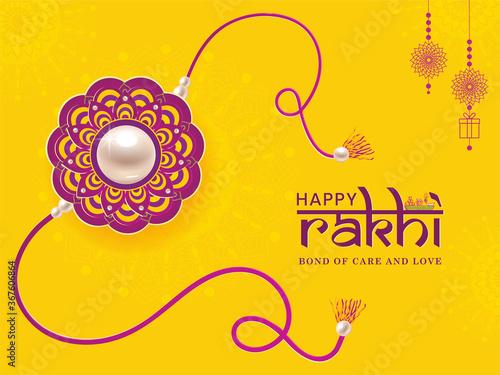 Obraz Happy Rakhi. Illustration of banner, poster or greeting card design with decorative Rakhi for Raksha Bandhan, Indian festival of brother and sister bonding celebration. - fototapety do salonu