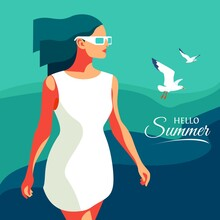 Hello Summer. Young Girl In Wh...