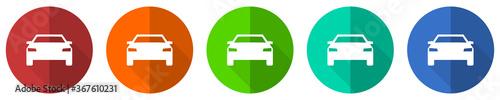Fotografie, Obraz Auto icon set, transport, transportation, car, red, blue, green and orange flat