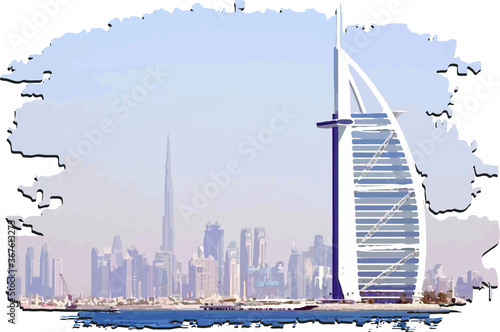 Dubai vector panorama for print burj khalifa and burj al arab hotel in uae unite Fotobehang