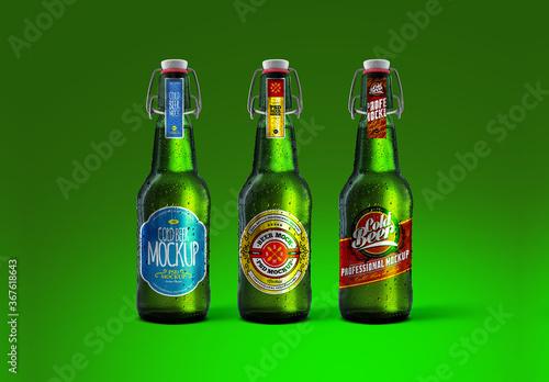 Cold Beer Green Bottle Mockup Set