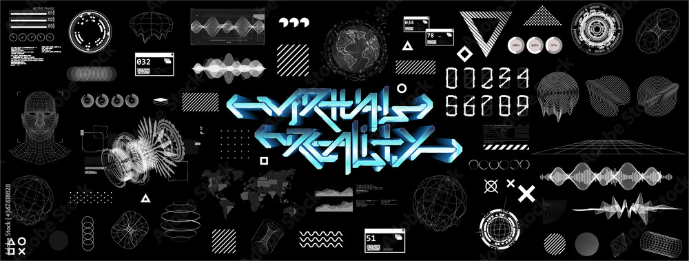 Fototapeta Modern universal futuristic shapes, HUD, GUI, Sky-fi with glitch effects. Cyberpunk retrofuturism concept. Vaporwave digital abstract elements for web banners, poster design and UI, UX, KIT.